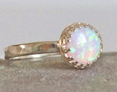Sterling Silver White Opal Ring Ready to Ship