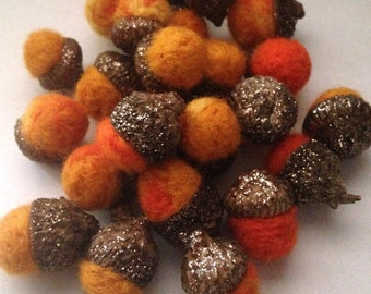 Autumn Needle Felted Acorns