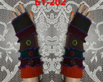 Arm warmers, size XL, size XXL, Fingerless, elf coat, Gloves, women, patchwork, Upcycled, Cosplay, Gift, mittens, embroidered, knit,
