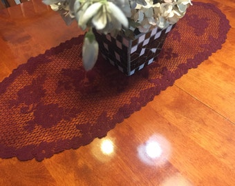 Vintage Maroon lace doily, table runner, placemat for christmas, holiday, housewares, home decor, valentines by MarlenesAttic