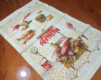 Vintage screen printed cloth or towel with a lobster scene on it, fabric, supplies, linen by MarlenesAttic