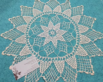 Vintage 17 inch Off White crochet doily for housewares, home decor, pillows, crafts, shabby chic, bags by MarlenesAttic