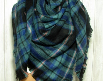 Sat-Sun SALE Blanket Scarf, Women, Green, Blue, Black, Pink Women's Gifts Zara Tartan Inspired, Oversized Large Unique Winter Scarves