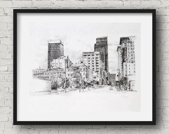 Downtown omaha 13th and jackson pencil drawing print 11x14