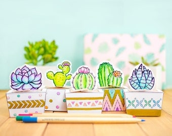 Printable Coloring Cactus and Succulents Mini Treat Boxes, DIY Cactus Theme Party Favors, Macaroon Boxes, Adult Coloring