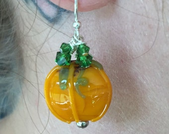 Halloween Thanksgiving Pumpkin Earrings with Swarovski Crystals
