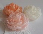 Pastel roses handmade fabric milinery roses peach pink blush ivory bridal hair flowers, Bridesmaids gift Shoe sash hair clip pin Flower Girl
