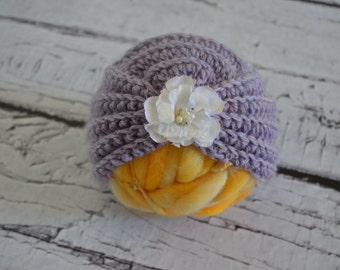 Crocheted Lavender Wool Blend Turban Style Baby Photo Prop 0-3 months
