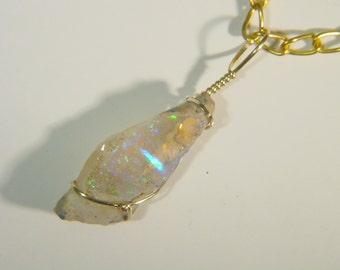 14k Gold Fill Wire Wrapped Raw Welo Ethiopian Opal Necklace Pendant 3750E