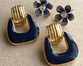 80s 90s pierced earrings//blue flowers with rhinestones//gold tone blue enamel door knocker--mixed lot of 2 pairs