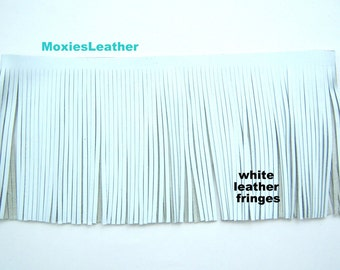 Genuine leather fringes -  white leather fringes 6x12