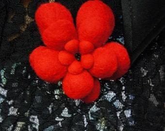 SALE 50% Felt Flower Brooch, Wet Felt, Felted Brooch, Wool Flower Pin, Felt Jewellery, Gift for her, Flower Pin, Handmade Unique Felt Brooch