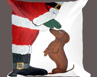 Dog Pillows/Dachshund And Santa/Christmas Pillows/Christmas/Christmas Gifts/Doxie/Wiener Dog Pillow/Doxie /Squirreldumplings/Santa Pillow
