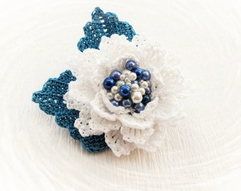 Crochet Brooch - Beaded Brooch - Crochet Flower Brooch - White Flower - Corsage- Rose Brooch - Party Ocasion Brooch - Boutonniere