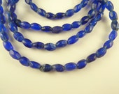 """32"""" scarce pressed faceted old cobalt blue glass component trade beads African"""