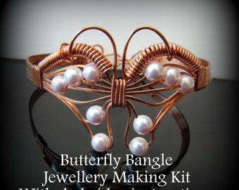 Butterfly Bangle Jewellery Making Kit, Copper