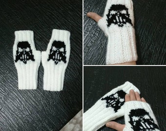 Mitts Darth Vader , Star Wars, Episode 7, The Force Awakens, Sith, knitted fingerless gloves,