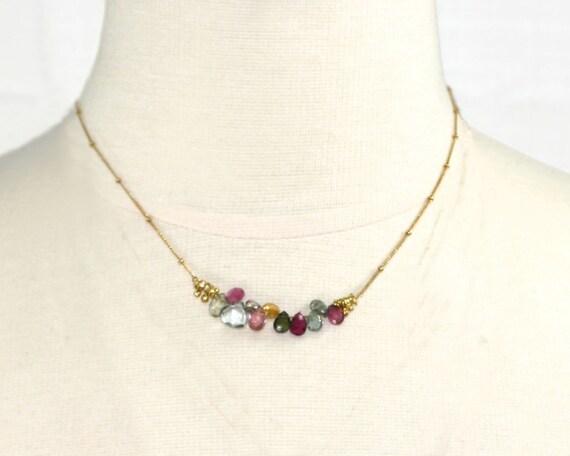 Bar Necklace. Multi Color Necklace. Watermelon Tourmaline Necklace. Tear Drop Necklace. Gemstone Jewelry. NM-2189
