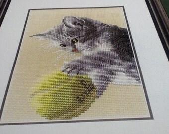 TENNIS ANYONE? - KITTEN - Cross Stitch Pattern Only