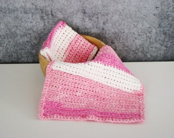 Pink and White Spa Set, Crochet Spa Cloth, Cotton Wash Cloth Set, Crocheted Homegoods, Eco Friendly Spa Cloth, Bathroom Spa Cloth, Set of 2
