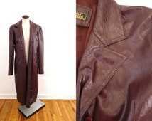 70s Womens Maroon Leather Trench Coat Burgundy Wine Long Coat JIM BOBS Vintage Lady Outerwear / Fits Womens Med , Large