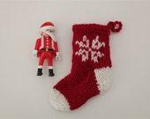Snowflake mini Christmas stocking - hand knitted