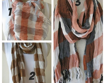 Men's scarf,grey gray orange cinnamon ivory plaid,Long scarf, Scarves 2015 fashioN,women,MAN SCARVES ,crinkle viscose scarf