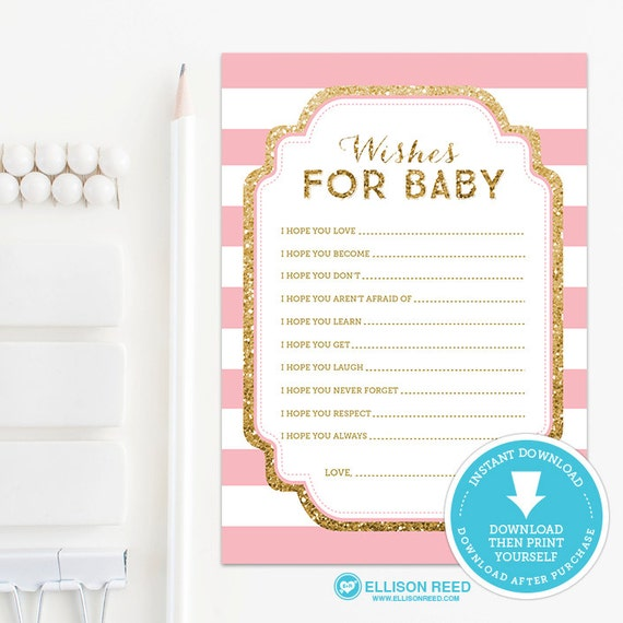 Baby Shower Message For Card: Gold Baby Shower Wish Card