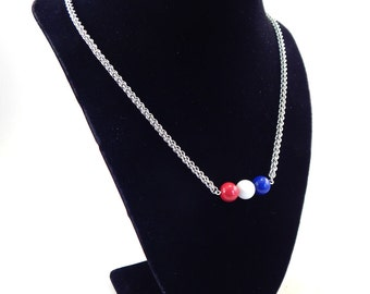 Red, White, and Blue Mountain Jade JPL Chainmaille Necklace