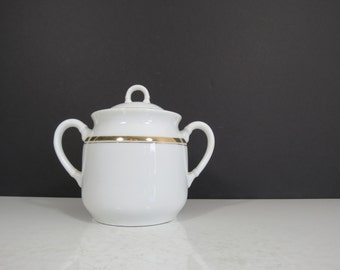 Antique China Sugar Bowl // Unmarked Limoges China Serving Piece White With Gold Stripes French Style Edwardian Late 1800's Rustic Kitchen
