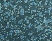 Sheer Floral Fabric, Polyester Dress Fabric, Teal Fabric, Teal Floral, Lightweight Fabric, Lightweight Sheer Material - 1 1/8 Yard - SF1753