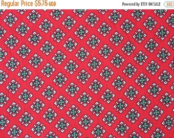 40% OFF Vintage Cotton Red Quilt Fabric with Black Green White Medallions - 1 Yard - CFL0467
