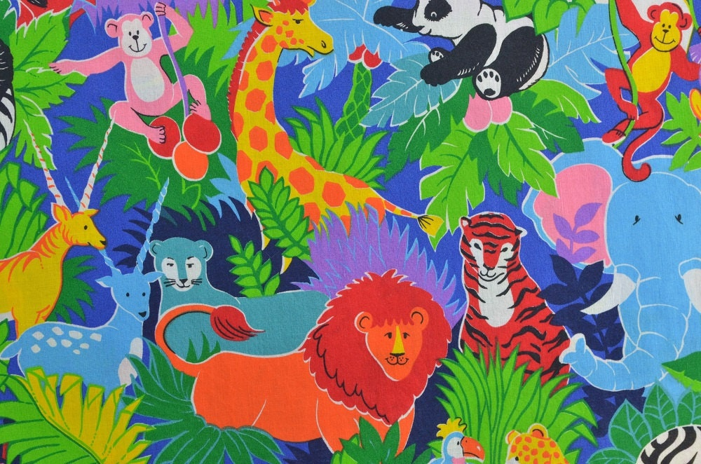 Cotton quilting fabric sewing fabric jungle fabric animal for Childrens jungle fabric