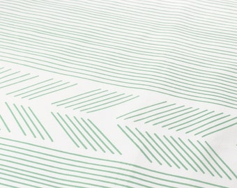 Biased in Mint : organic cotton handprinted fabric panel blue green