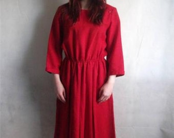 Vintage dress size 12/14 red wool mix long 70's 3/4 sleeves pleated skirt m