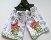 Flower Garden Crochet Top Kitchen Hand Towel Set of 2