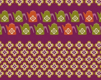 Half Yard Melody Miller Purple bkgd. Ruby Star Shining Water Can. Canvas