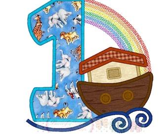 Noah's Ark Number One Digital Machine Appliqué Embroidery Design