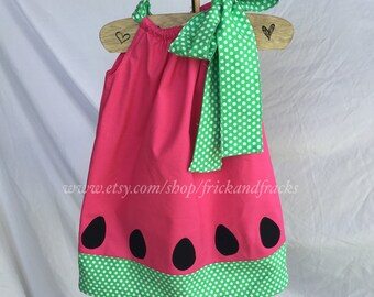 Pink Watermelon Pillowcase Dress with Green Accents, Summer Dress, Watermelon Outfit, Watermelon Outfit, Summer Outfit, Beach Dress
