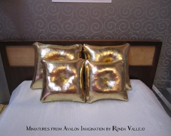 Miniature 1/12th or 1:6th Scale 1 Tuck pillow in Liqid Gold fabric Hollywood Regency mid century modern glam luxe