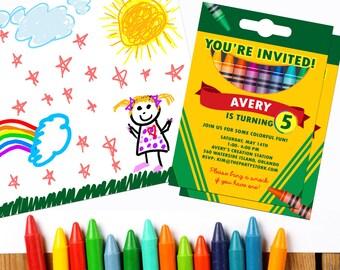 Crayon Party Invitation: Crayon Party Printable, Birthday Invitation, Crayons Art Party Invite, Printable Coloring Party Invitations Digital