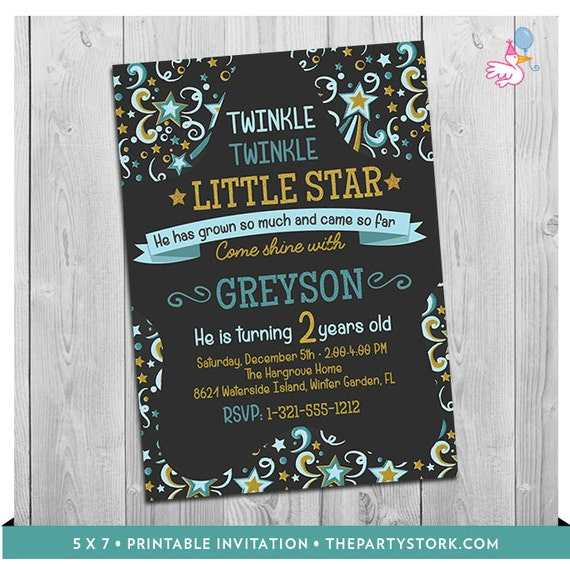 Twinkle twinkle little star invitation printable baby boy 1st or il570xn stopboris Image collections
