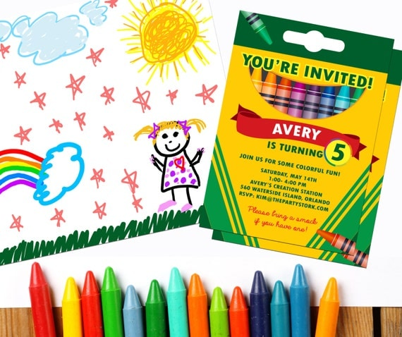 coloring party invitations