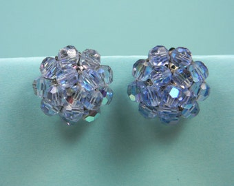 Vogue Icy Blue Crystal Clip On Earrings