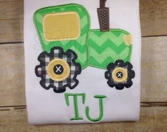 Tractor Applique Shirt, John Deere, Boys Shirt, Girls Shirt, Farm, Birthday Shirt, Personalized Shirt
