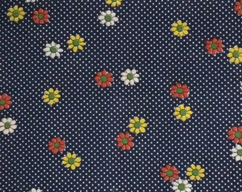 Blue Floral and Polka Dots Poly Fabric