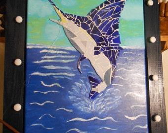 mosaic glass marlin picture
