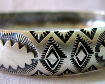 "Navajo Vincent Platero One of a Kind Oxidized Hand Stamped 925 1/2"" Bangle"
