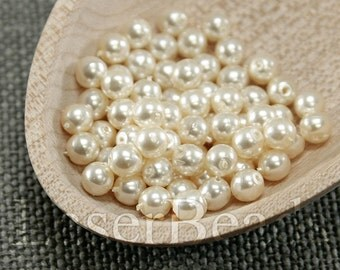 100pc 4mm Beige pearl Beads Cream pearl coated beads Czech druk beads White 4mm round beads