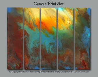 5 piece canvas print set large Abstract wall art, Multi panel, Blue  Turquoise Teal Red Orange Yellow, Home decor Bedroom Office XL oversized